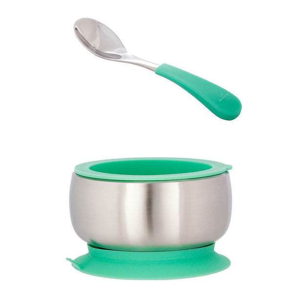 Avanchy Stainless Steel Baby Bowl and Spoon Set Green