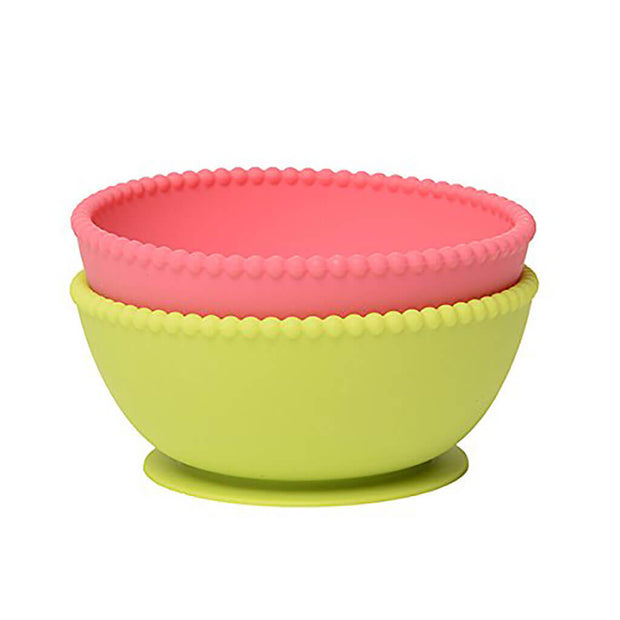 Chewbeads Silicone Suction Bowls Set Chartreuse/Pink - nini & loli