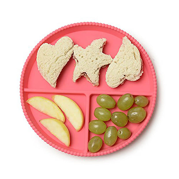 Chewbeads Silicone Divided Plates Set Chartreuse/Pink - nini & loli