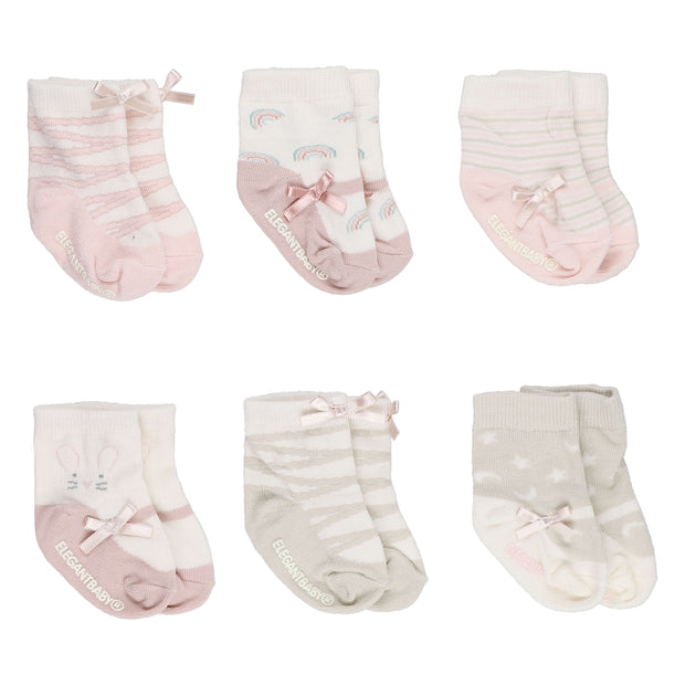 6 Pack Socks Mary Jane Pink - nini & loli