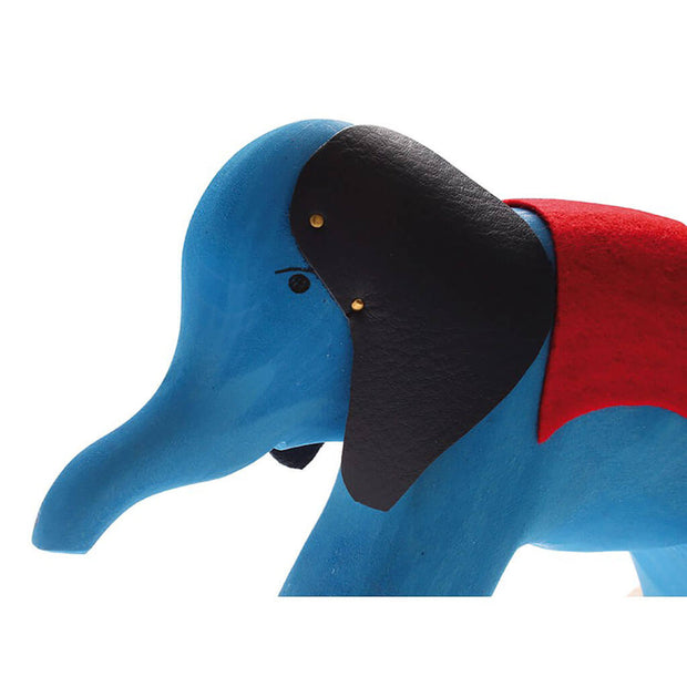 Grimm's Authentic Wooden Pull Along Elephant Blue - nini & loli