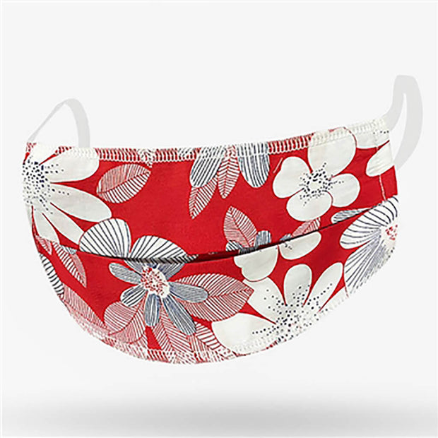 Kushies Adult Washable Face Mask Red Floral