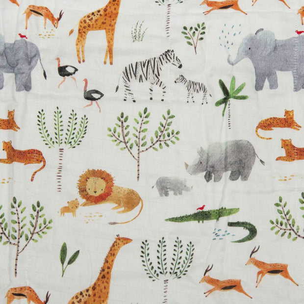LouLou Lollipop Muslin Quilt Blanket Safari Jungle
