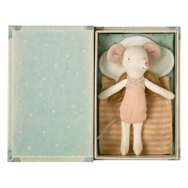 Maileg Angel Mouse Big Sister in Book Doll