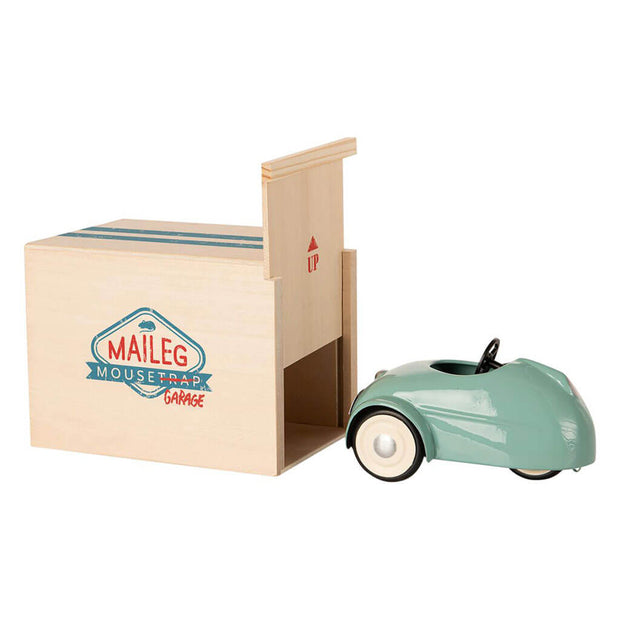 Maileg Mouse Car Toy with Garage Blue - nini & loli