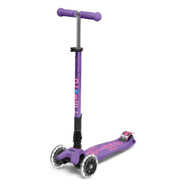 Micro Kickboard Scooter Maxi Deluxe Foldable LED Purple