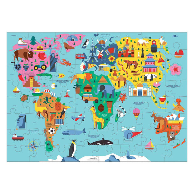 Mudpuppy 78 Piece Puzzle Geography Map of  The World