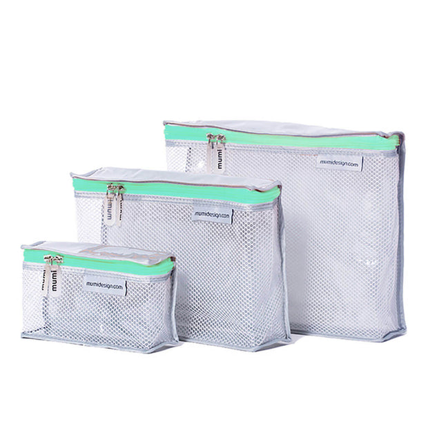 Mumi Toiletry Cubes 3 Piece Set Aqua - nini & loli
