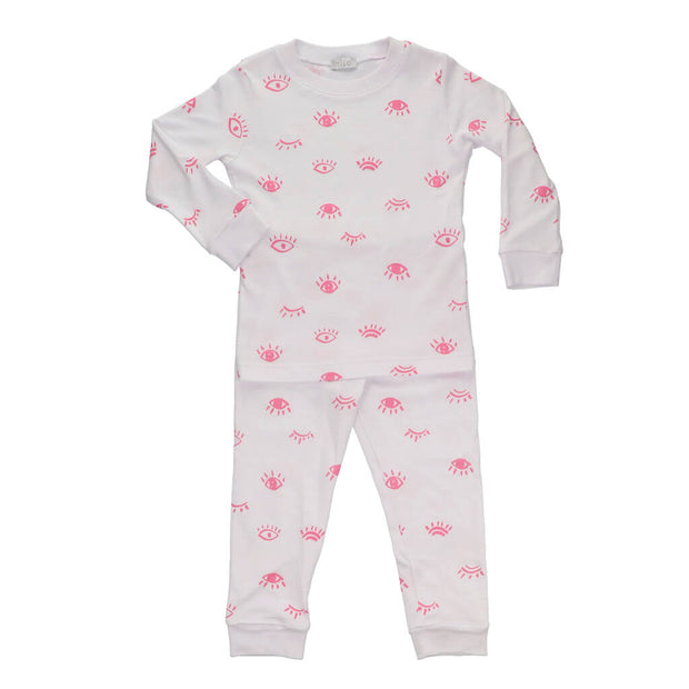 Nilo Baby 2 Piece Pajamas Eyes White/Pink