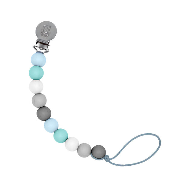 Nilo Baby Silicone Beads Pacifier Holder Mint Grey - nini & loli