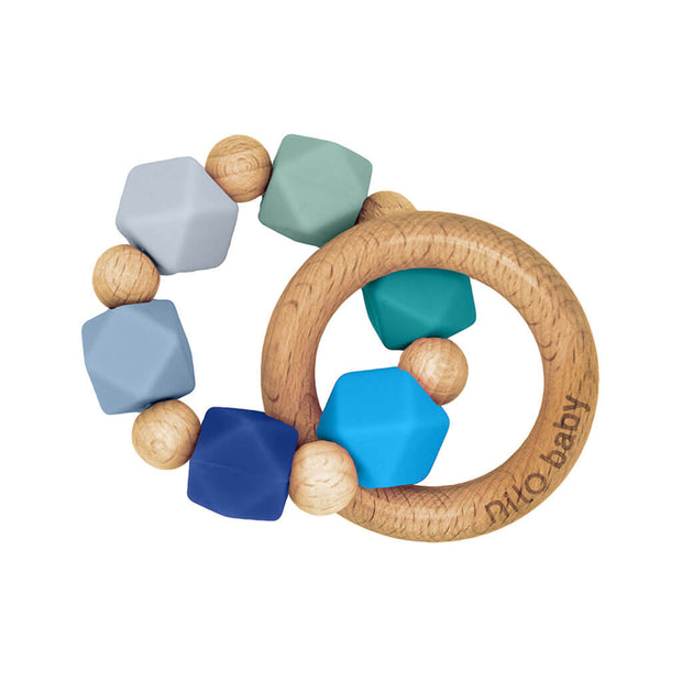 Nilo Baby Silicone + Wood Teether Blue Charm - nini & loli