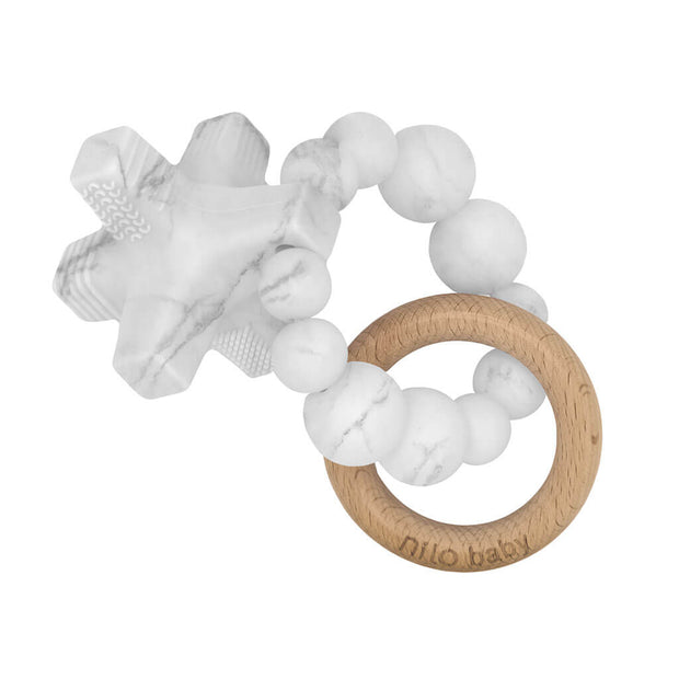 Nilo Baby Silicone Teether Hugs & Kisses Marble - nini & loli