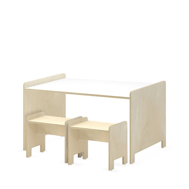 Natural Birch | Studio Duc Juno Play Table and Playstool Set Natural Birch | NINI and LOLI