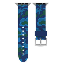 Load image into Gallery viewer, Camouflage Apple Watch Band Benefico Double blue 42mm or 44mm