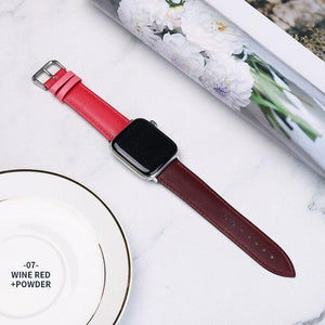 Casual Leather Apple Watch Band Apple Watch Band Benefico wine red powder 38mm or 40mm