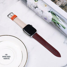 Load image into Gallery viewer, Casual Leather Apple Watch Band Apple Watch Band Benefico wine red white 38mm or 40mm