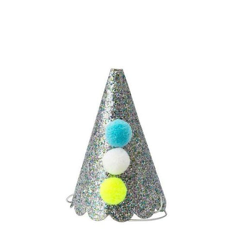 8 Silver Glitter Party Hats