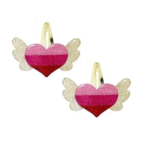 Winged Heart Hair Clips