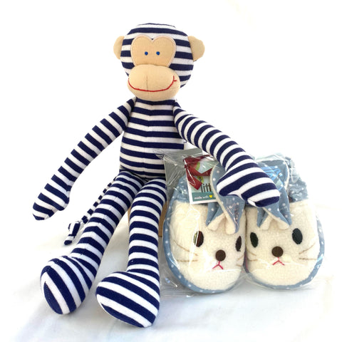 Baby Bunny Slippers + Monkey Rattle (Blue)