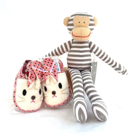 Baby Bunny Slippers + Monkey Rattle (Pink)