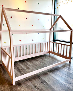 House Bed Frame - Twin w/ 3 Sided Railing