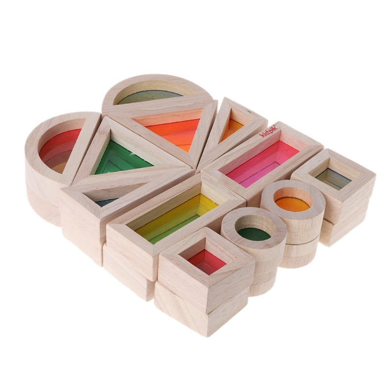 Rainbow Acrylic Wooden Building Blocks Baby Educational Toy Montessori Kids toy