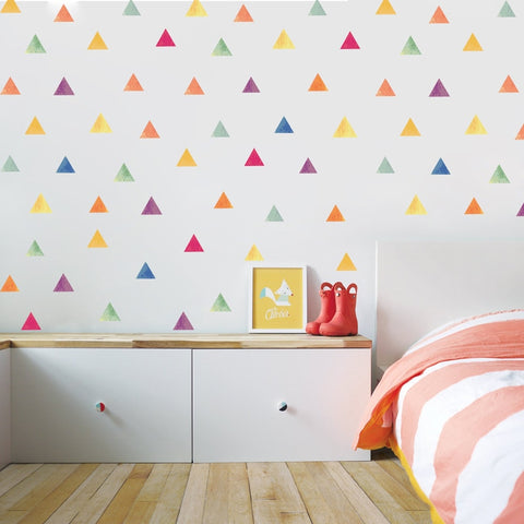 Multi Watercolour Triangle Wall Decals