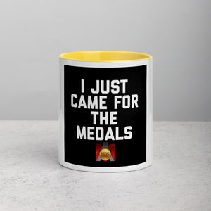 I Just Came For the Medals Mug with Black, Yellow, Red Color Inside