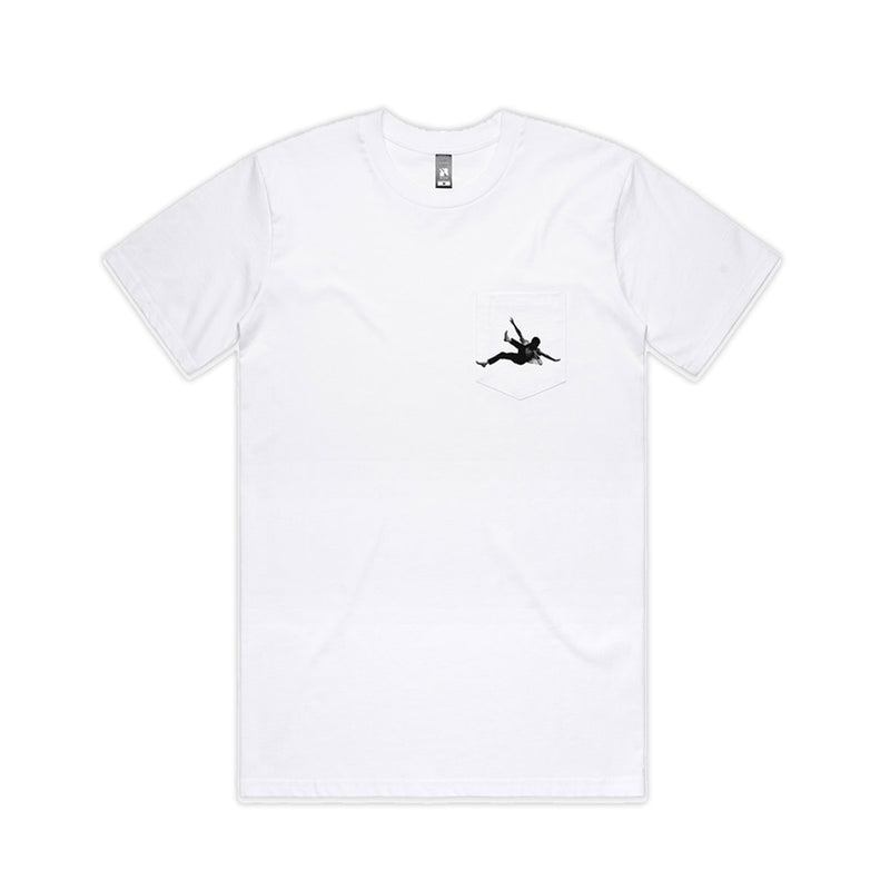 Flying Man Pocket Tee White