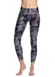 Maaji Dazeful Flora Gray Mid Rise 7/8Th Legging