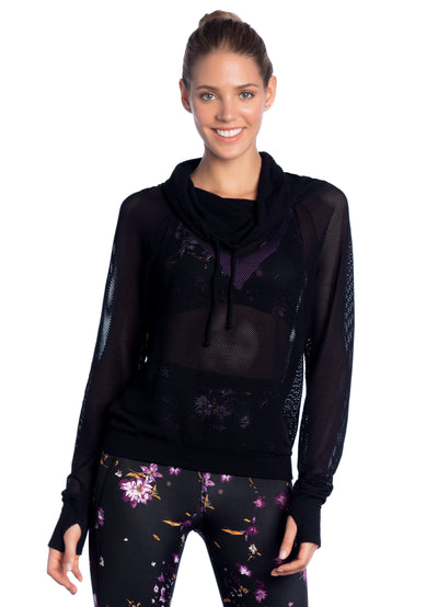 Maaji Inspirit Black Funnel Neck Long Sleeve Top