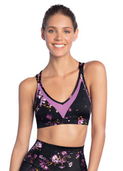 Maaji Mist Wildflowers Black Low Impact Sports Bra
