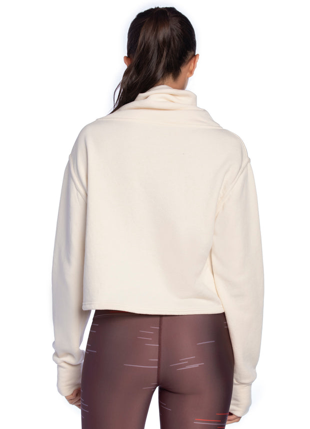 Maaji Thrive Ivory Funnel Neck Sweatshirt