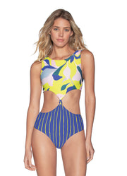 Maaji Sunflower Spin High Neck 4-Way Reversible One Piece Swimsuit