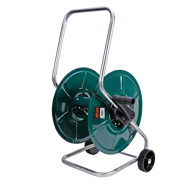 Wheeled garden hose reel with 60 metre capacity