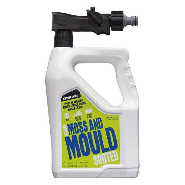 Kiwicare SORTED Moss & Mould outdoor cleaner and steriliser in hose end sprayer