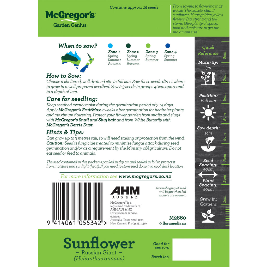 Sunflower Seed sowing instructions