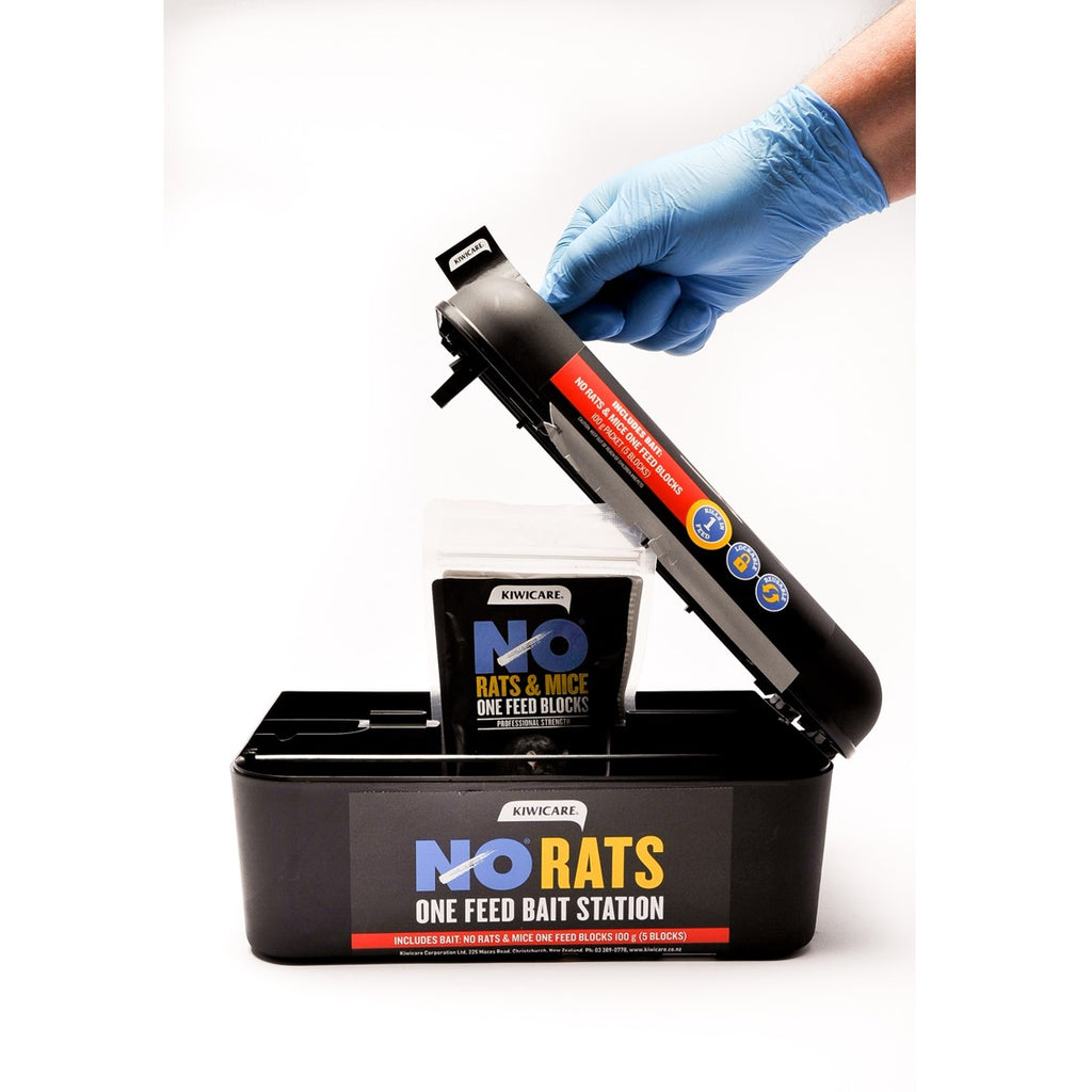 NO Rats Bait Station key opening and supplied NO rats & Mice One Feed Bait Pack