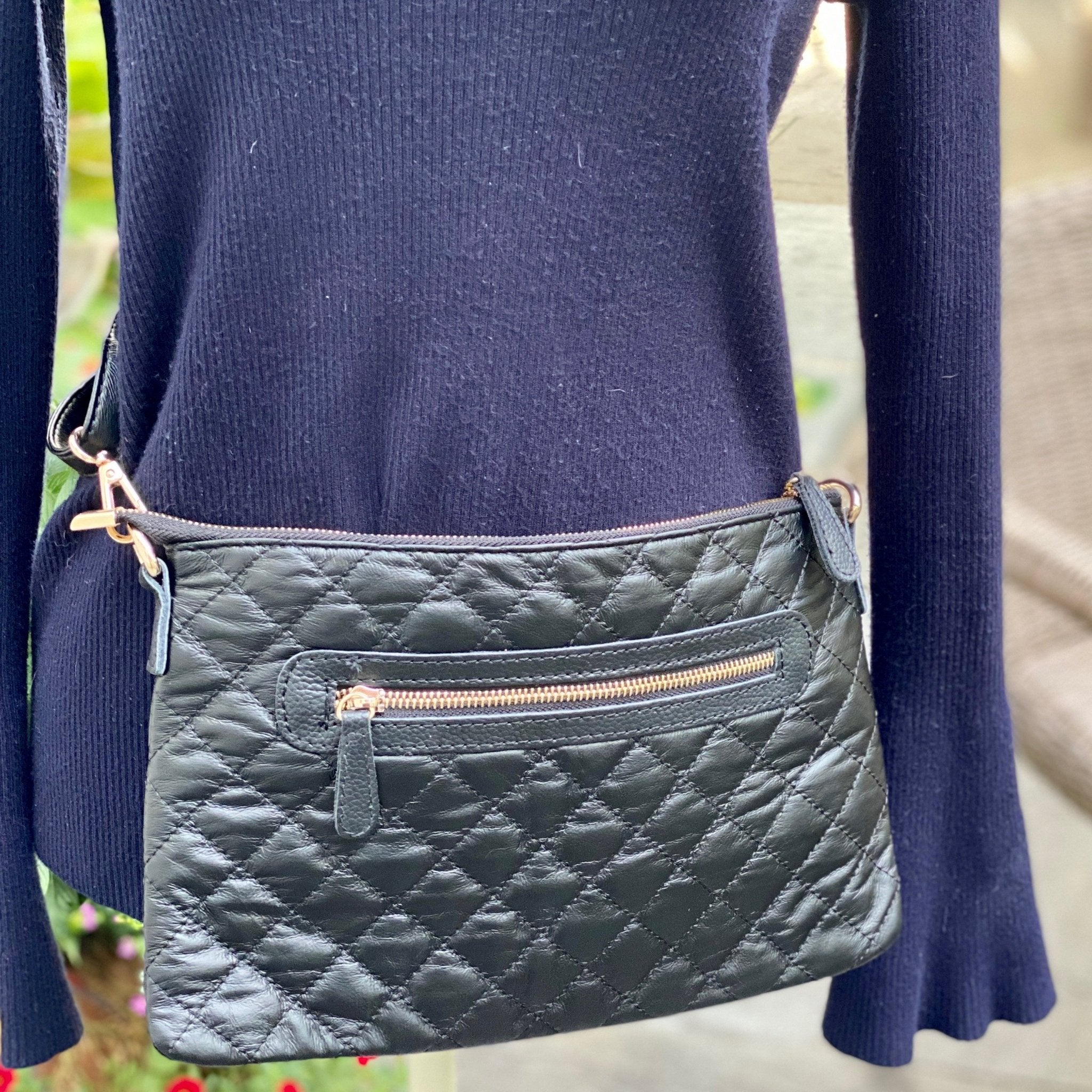 Black Leather Trimmed Quilted Crossbody - Inspired Evanston