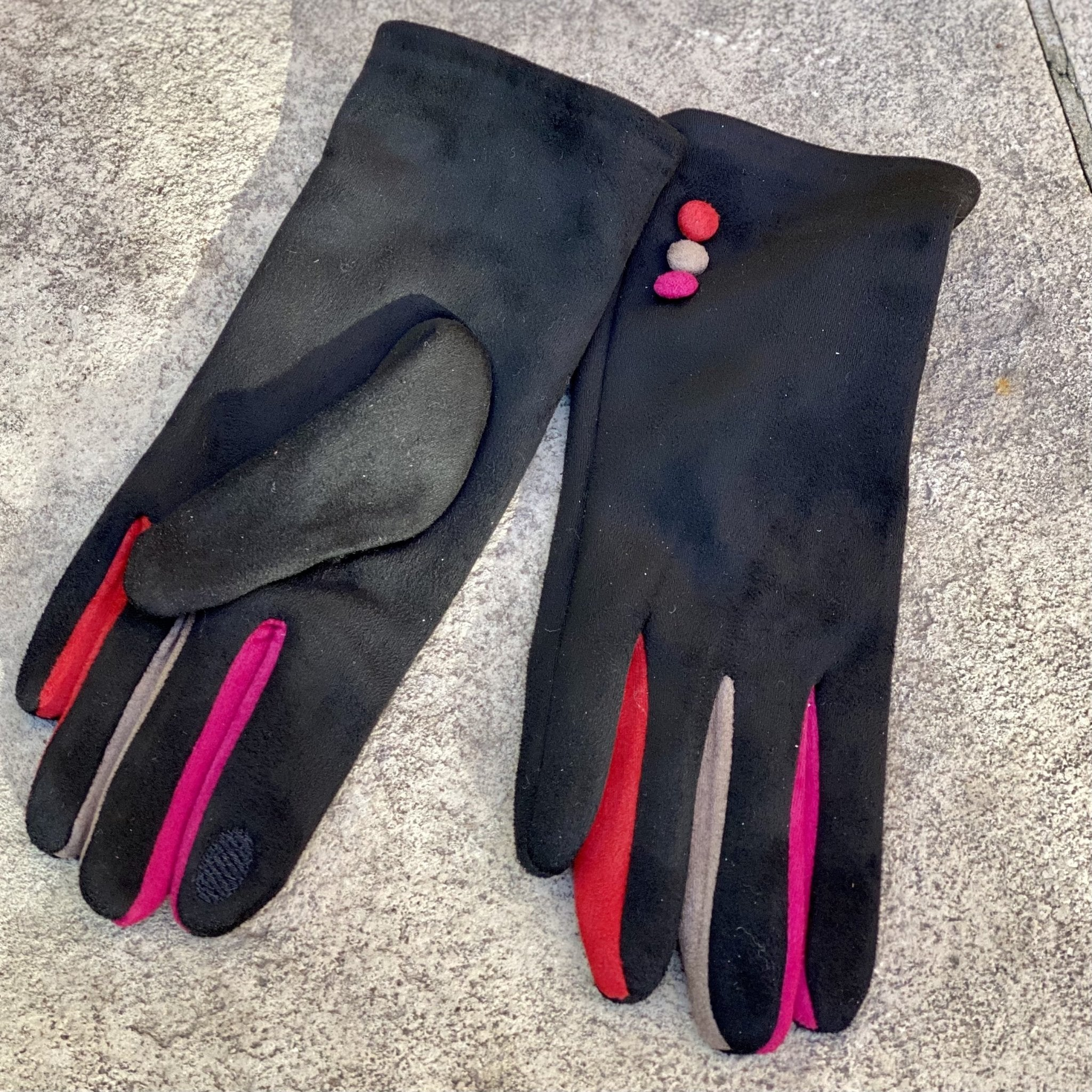 Black Ultra Suede Gloves with Tri-Color Buttons - Inspired Evanston