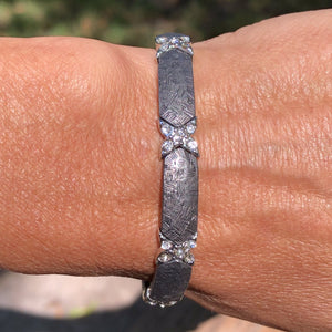Grey and Silver and Crystal X Bead Stretch Bracelet - Inspired Evanston