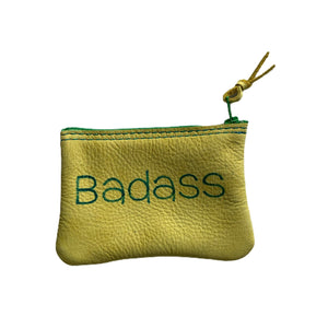 Open image in slideshow, Medium Leather Inspirational Pouch, Badass - Inspired Evanston