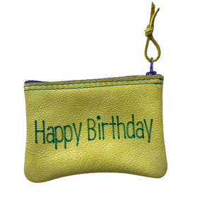 Open image in slideshow, Medium Leather Inspirational Pouch, Happy Birthday - Inspired Evanston