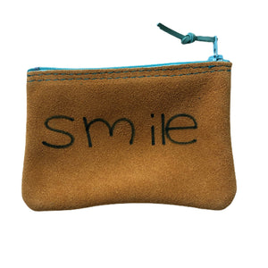 Open image in slideshow, Medium Leather Inspirational Pouch, Smile - Inspired Evanston
