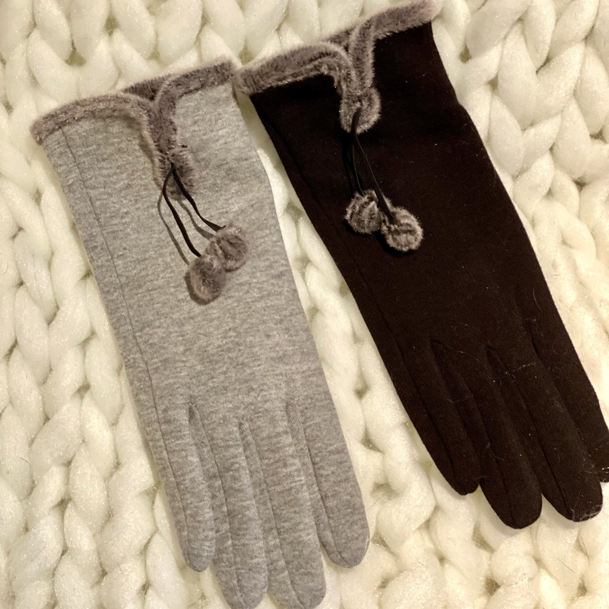 Pom Pom Gloves - Available in black or gray - Inspired Evanston