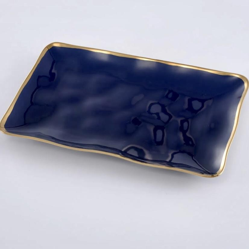 Royal Blue with Gold Trim Rectangular Platter - Inspired Evanston