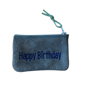 Open image in slideshow, Small Leather Inspirational Pouch, Happy Birthday - Inspired Evanston