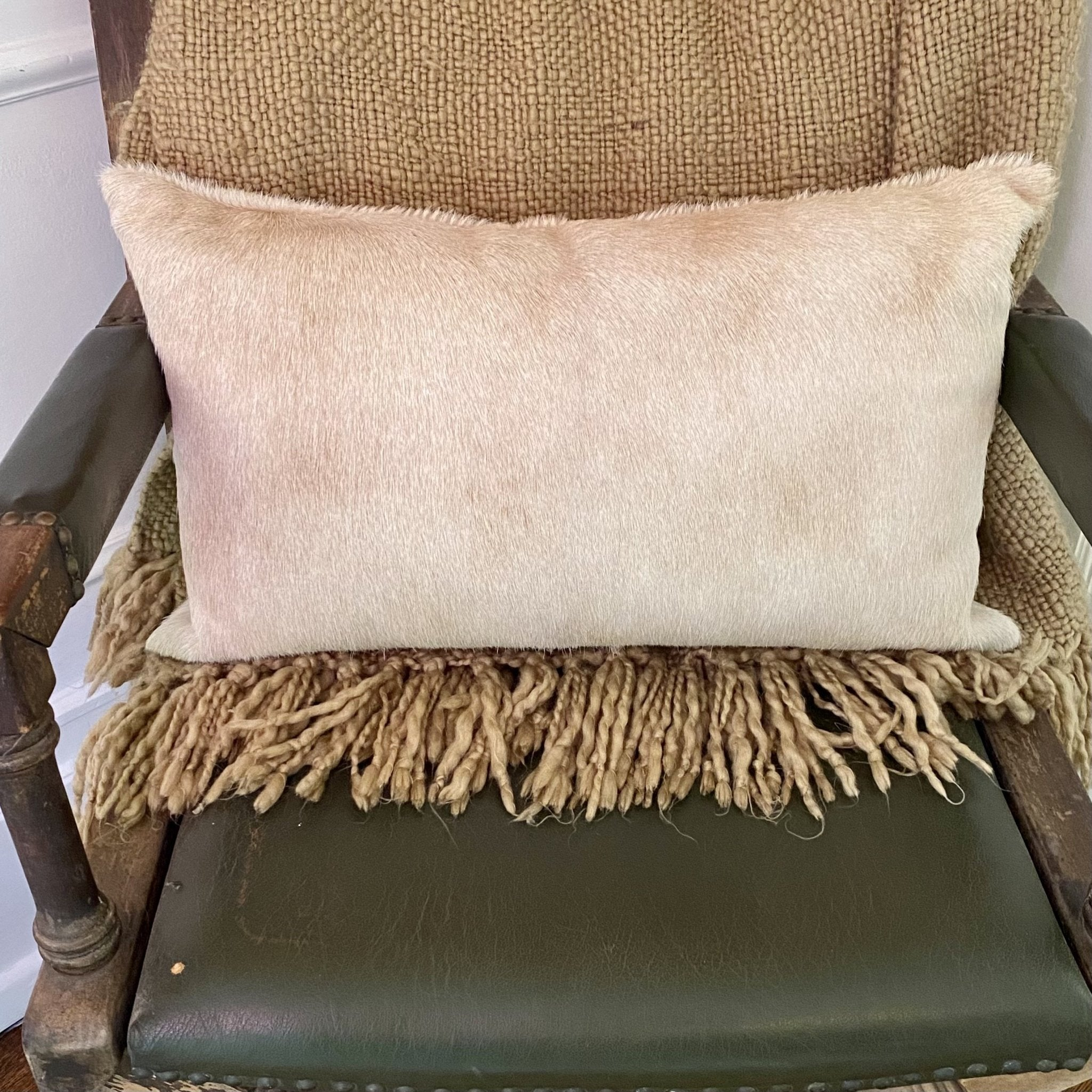 Solid Light Beige Fur Pillow - Inspired Evanston