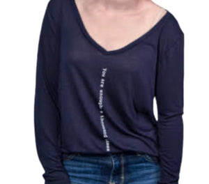 Open image in slideshow, You Are Enough Long Sleeved V- Neck T-Shirt - Inspired Evanston