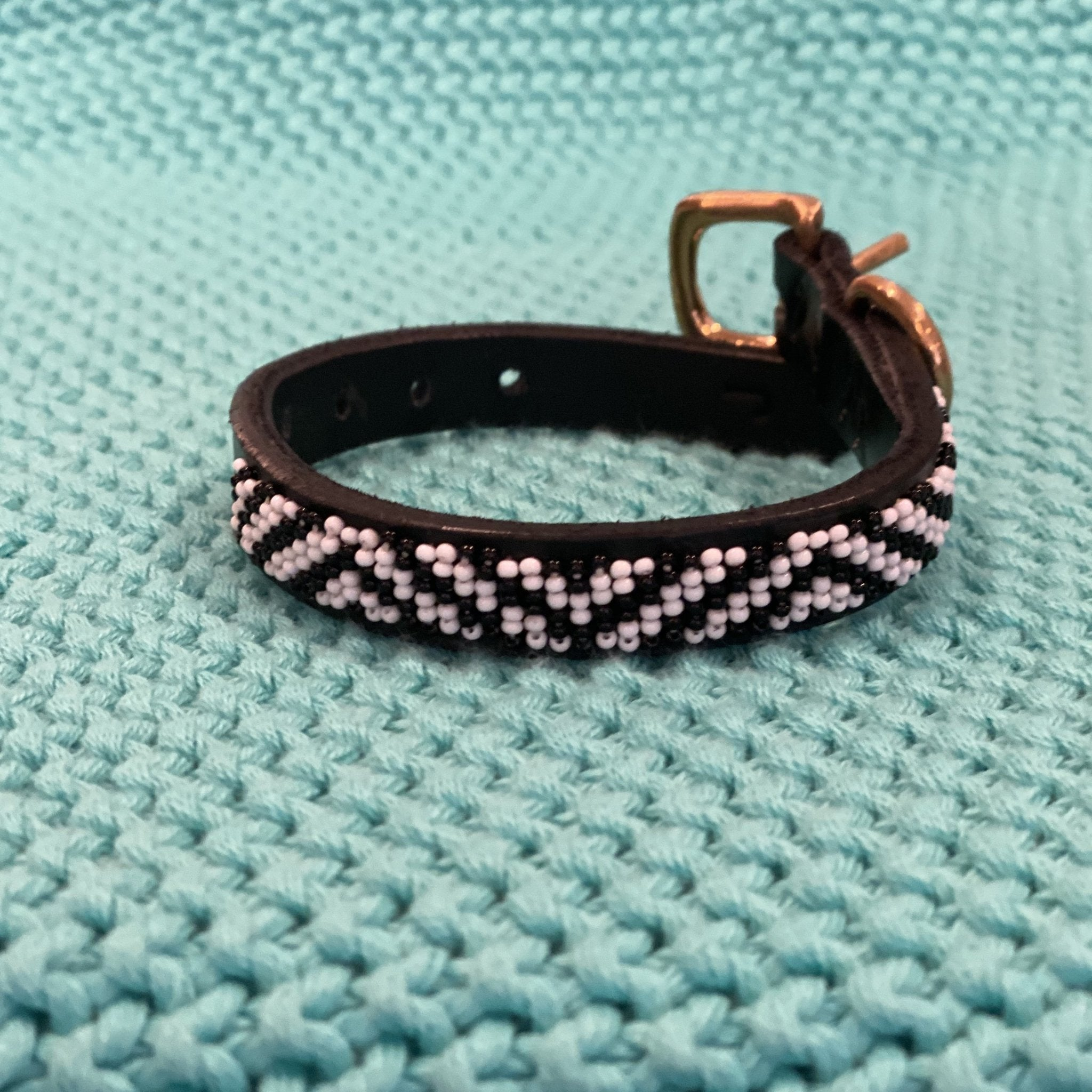 "Zebra Beaded Dog Collar, 8"" - Inspired Evanston"